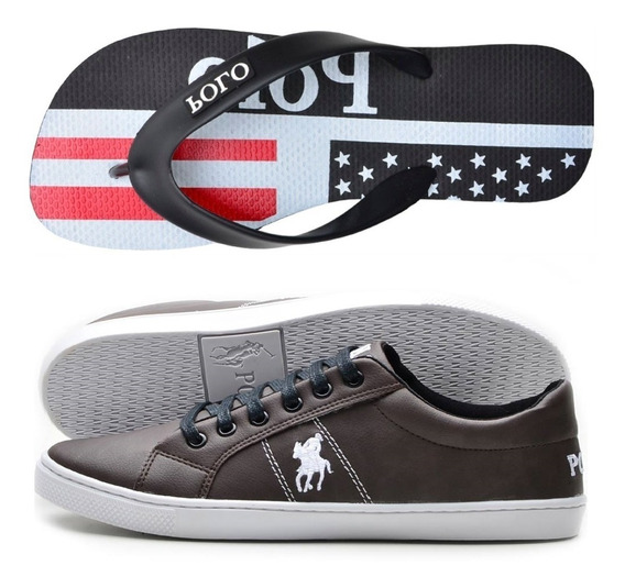 Kit Chinelo Masculino+ Sapatênis Original Polo Plus 37 Ao 44