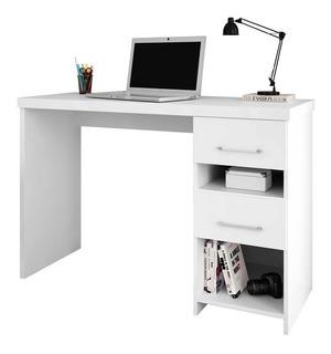 Escrivaninha Mesa Para Computador 2 Gavetas Branca