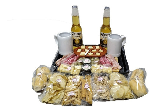 Imagen 1 de 10 de Picada A Domicilio Con Cerveza Corona + Tabla Regalo - (p/2)