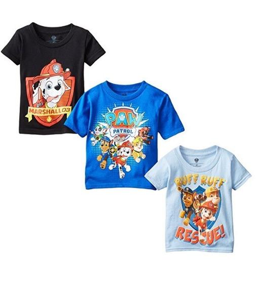 Nickelodeon Playeras Paw Patrol, Para Niños 3 Pzas 2t