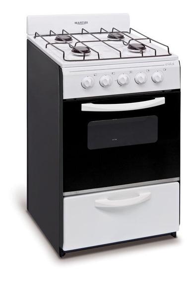 Cocina 51 Cm Blanca Gas Natural Martiri Crystal Nueva!