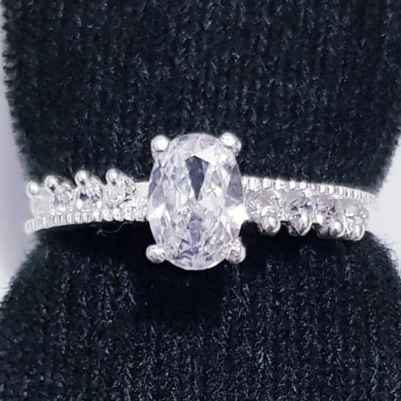 Anillo De Compromiso En Plata 925 Tipo Diamante M19