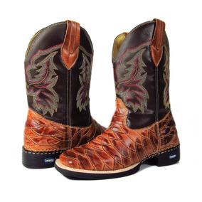 d19919c319e Bota Masculina Cowboy Texana Escama Cano Longo Bico Quadrado