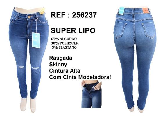 Calça Jeans Feminina Sawary Super Lipo C/ Cinta Cintura Alta
