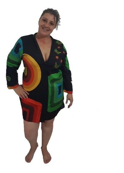 Saída De Praia Camisao Blusa Plus Size Colorida Chamise