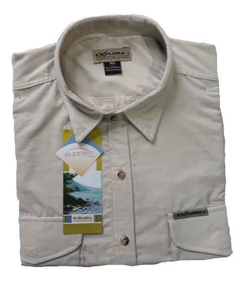 Camisa Explora Secado Rapido Pesca Hombre Manga Corta Cuotas