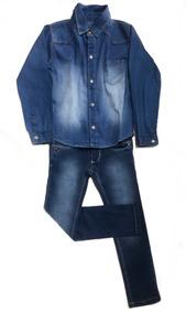 Conjunto Infantil Menino Camisa Jeans Calça Jeans