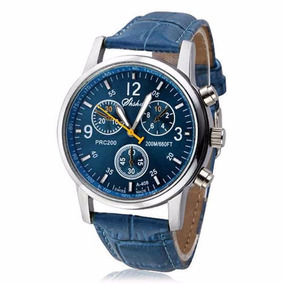 Promoção Relógio Azul Luxo De Couro De Crocodilo Mens Analo