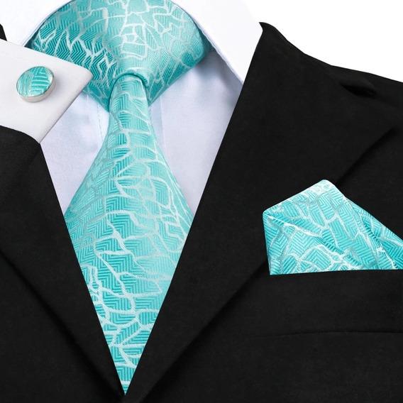 B1038 Seda | Corbata Pañuelo Mancuernillas | Azul Ártico