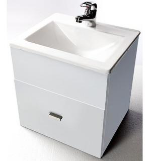 Vanitory Colgante Laqueado Blanco Bacha Baño 40cm Oferta
