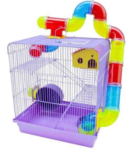Gaiola Para Hamster Tubos Labirinto 3 Andares Lilás Promoção