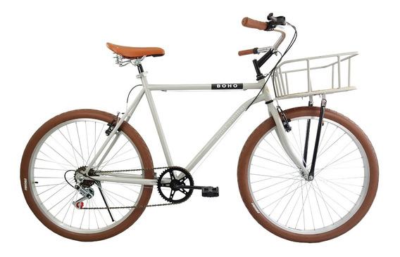 Bicicleta Urbana Boho 6 Velocidades Canasta Acero Rodada 26