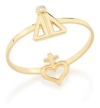 Anel Nossa Senhora Aparecida Com Zirconia E Coração Com Cruz Rommanel 512398