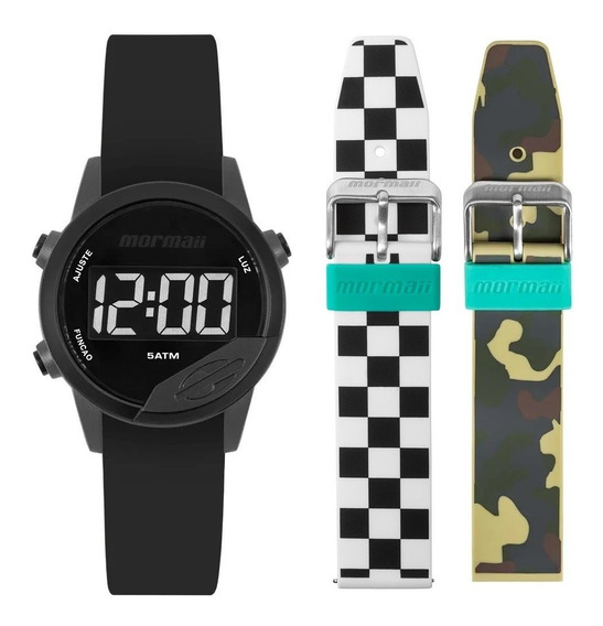 Relógio Mormaii Mude Feminino Masculino Digital + Pulseiras