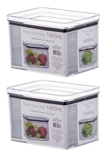 Pote Hermético Frutas/vegetais/queijo Minas/ Lumini 1800ml