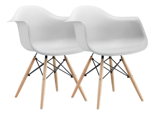 Set X 2 Sillon Silla Comedor Diseño Eames Dsw Patas Madera