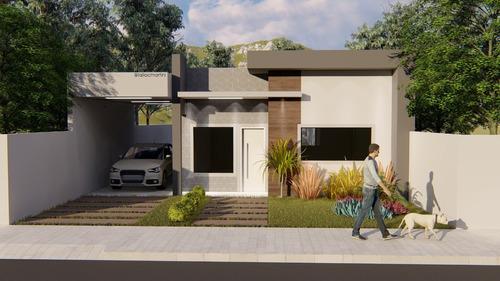 Imagem 1 de 10 de  Planta De Casa 2 Quartos - Projeto Arquitetônico Completo