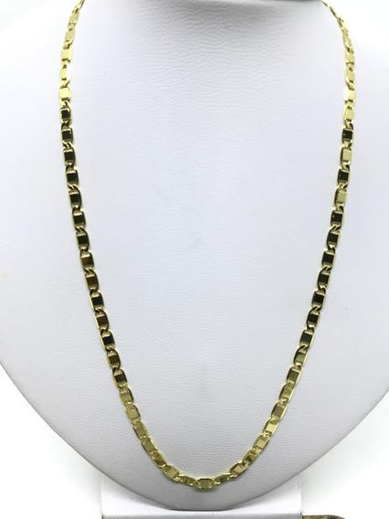Corrente Masculina Piastrine Cordão 70cm Folheado A Ouro 18k