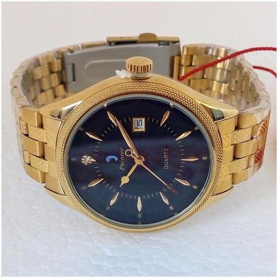 Relógio Feminino Pointer Quartz Dourado Original Vip Champion Frete Grátis