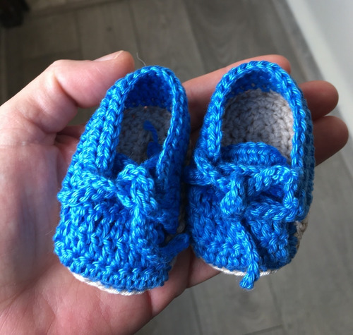 Zapato Crochet Recién Nacido Azul