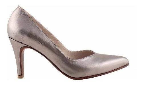 Zapato Vestir Cuero Mujer Clasico Taco Briganti - Mccz03474