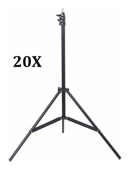 Kit 20x Tripé Iluminação Estúdio 2m P/ Led Flash E Softbox