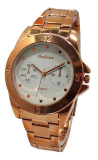 Reloj Dufour Lady Quartz Acero Rosee Original Garantia 12m.