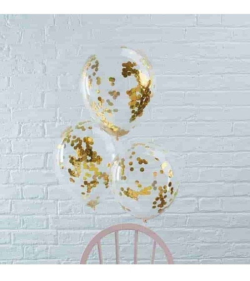 Globos Cristal Con Confeti Dorado O Plateado Cotillon 12
