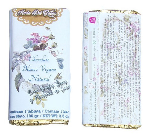Imagen 1 de 8 de Tableta De Chocolate Blanco Natural Low Carb Vegano Manteca