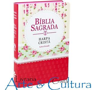 Bíblia Sagrada Feminina Rosa Com Harpa Cristã