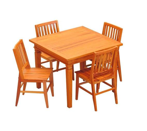 Conjunto Mesa De Jantar 1 X 1 M 4 Cadeiras Madri Madeira Dem