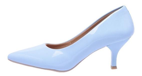 Sapato Feminino Scarpin Verniz Salto 4,5 Cm Até O Tam 42