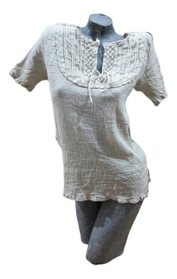 Blusa Bambula Tipo Hindú Modelo U. 100% Algodón