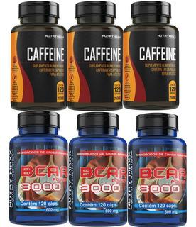 Kit Suplemento Para Atletas 3un Bcaa 3 Cafeina 120 Capsulas
