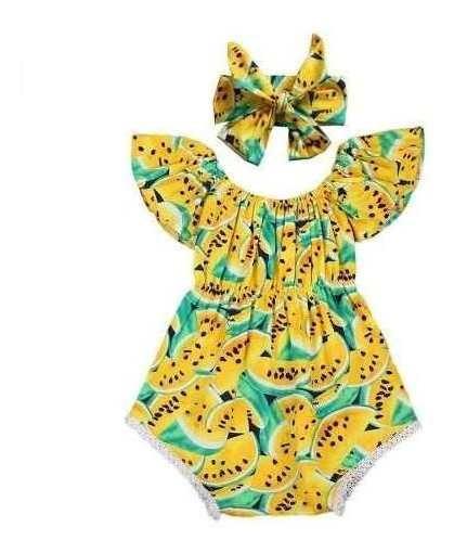 Body Verde Melancia Amarela Bebê Infantil Roupa Romper