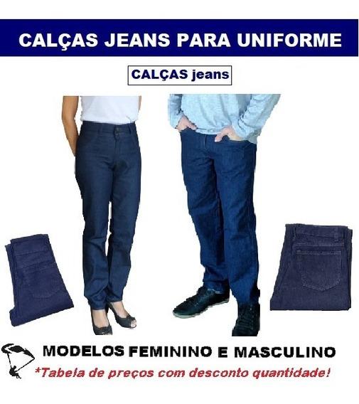 Calças Jeans Para Uniforme Trabalho Empresa - 01 Pç