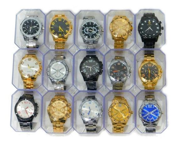 Kit Com 10 Relógios Masculino Atacado Revenda Lote Com Caixa