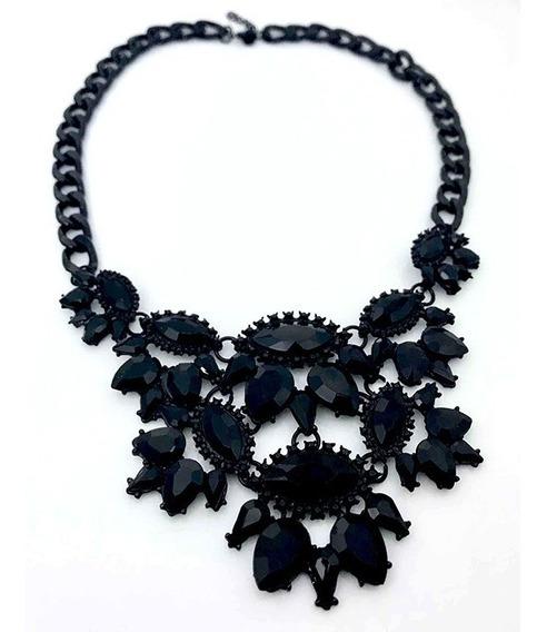 Hermoso Collar Con Con Cristales Color Negro Lf22005