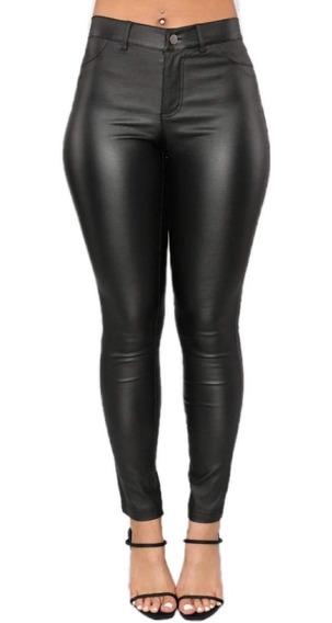 Pantalón Engomado Mujer Talles Grandes Eco Cuero Tiro Alto