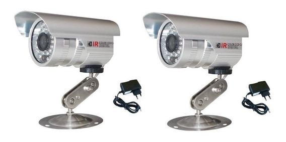 2 Câmeras Segurança Analogica 36 Leds Cftv Infra Prova Água
