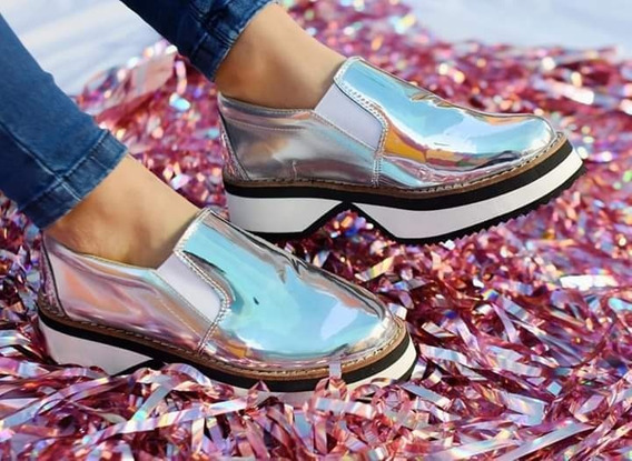 Zapatillas Panchas Metalizadas Brillosas Plataforma Liviana