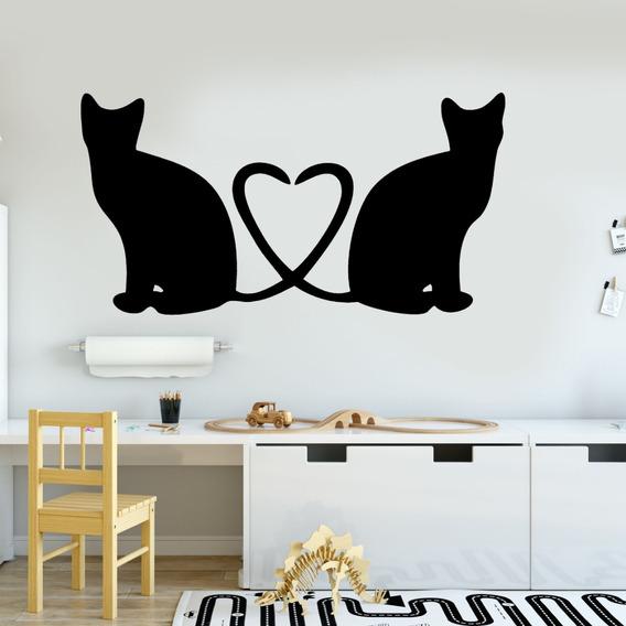 Adesivo De Parede - Gatos Coração Amor Pets Cat Silhueta