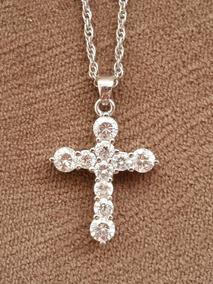 Corrente Com Cruz Ouro Branco Com Diamantes