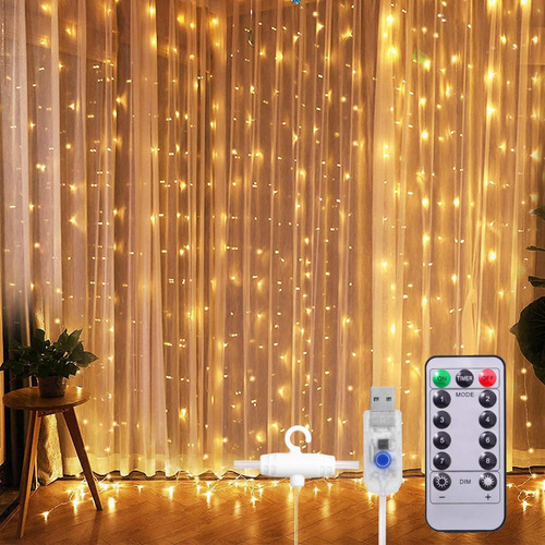 Cortinas Serie Luces 300 Led Decorativas Usb 8 Modelo 3x3m