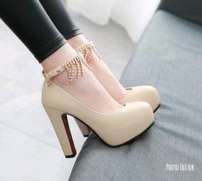 Sapato Importado Feminino Tornozeleira Salto Grosso