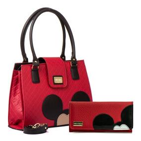Bolsas Femininas Mickey Mouse Transversal + Carteira Pequena