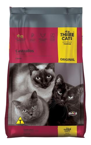 Imagen 1 de 2 de Comida Gato Three Cats Castrados 8+2kg + Aglomerante 4kg