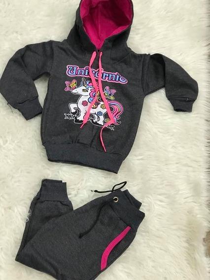 Conjunto Moletom Infantil Menina Calça + Blusa Frio