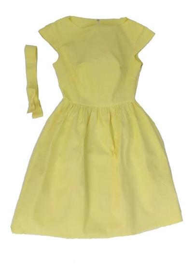 Vestido Casual, Coctel, Estilo Vintage De Lino Amarillo