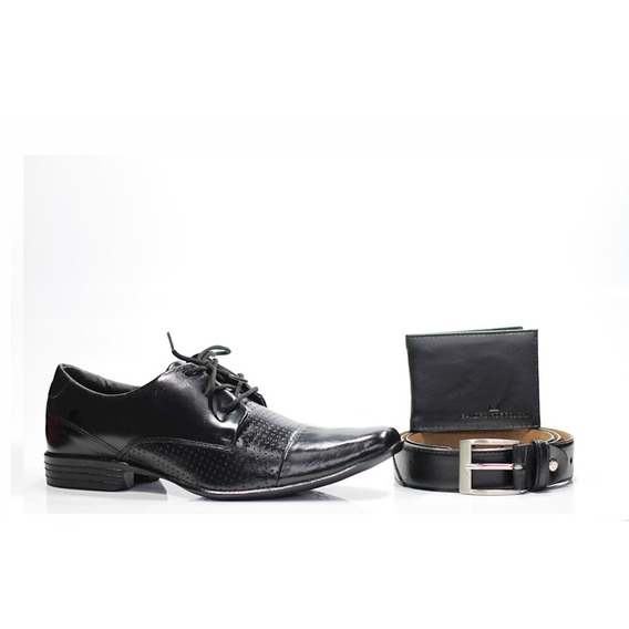 Sapato Social Metropolitan+carteira Gr01 Preta +cinto 601